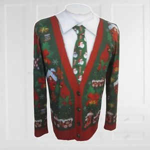 Ugly Christmas Sweater T Shirt w tie M funny